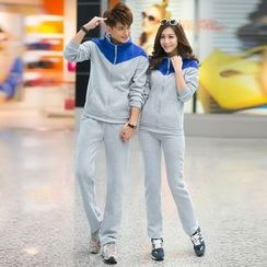 Lovebirds - Set: Color-Block Hooded Zip Couple Matching Jacket + Sweatpants