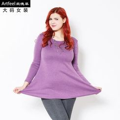 Artfeel - Long-Sleeved Sheath Dress