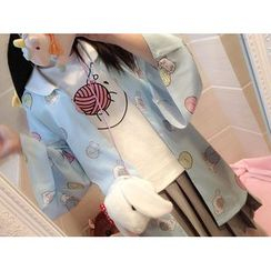 GOGO Girl - 貓印花和服夾克