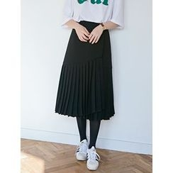 FROMBEGINNING - Pleated-Hem Long Skirt