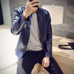 Ekinbrown - Faux Leather Jacket