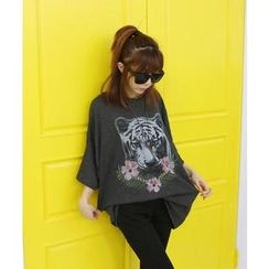 DANI LOVE - Tiger Print Oversized T-Shirt