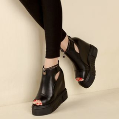 Anran - Hidden Wedge Platform Peep Toe Ankle Boots