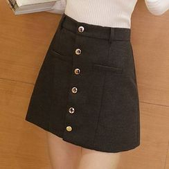 lilygirl - Buttoned A-Line Skirt