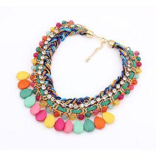 Best Jewellery - Rhinestone Braided Layered Statement Necklace