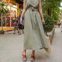 PPGIRL - Band-Waist Linen Midi Skirt With Sash