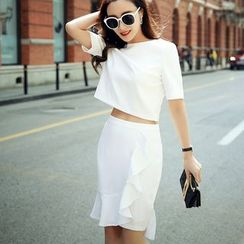 Sherbo - Set: Short-Sleeve Cropped Top + Paneled Pencil-Cut Skirt