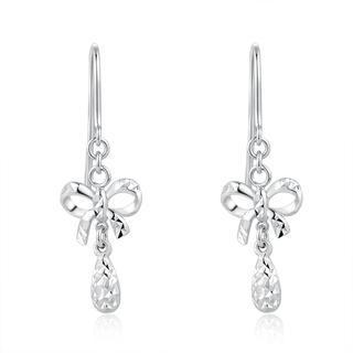 MaBelle - 14K White Gold Bow with Teardrop Diamond Cut Dangle Hook Earrings