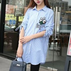Cobogarden - Flower Applique Striped Long Shirt