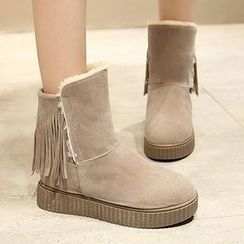 Gizmal Boots - Fringed Short Snow Boots