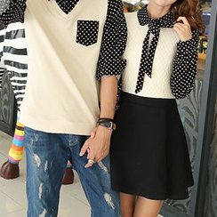 Azure - Couple Matching Dotted Mock Two-piece Shirt / Dress