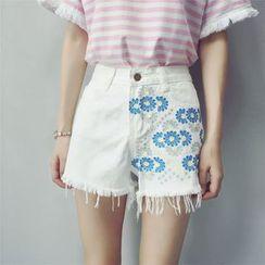 Kojasmine - Embroidered Denim Shorts