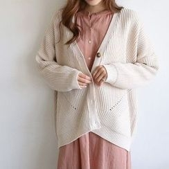 Hello sweety - Drop-Shoulder Pointelle-Knit Cardigan