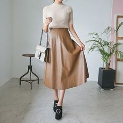 PPGIRL - Faux-Leather A-Line Skirt