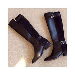 MASoeur - Genuine Leather Buckle-Trim Long Boots