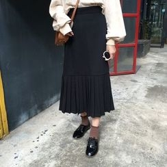 ALIN STYLE - Accordion Pleat Midi Skirt