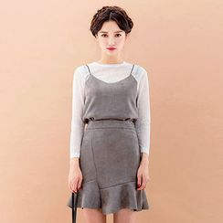 chuu - Set: Faux-Suede Bustier Top + Sheer T-Shirt + Mini Skirt