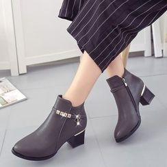 Yoflap - Block Heel Rhinestone Ankle Boots