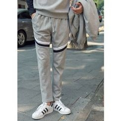 GERIO - Contrast-Trim Sweat Pants