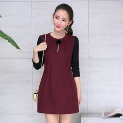 AiSun - Plain Long Sleeve A-Line Dress