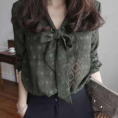 Oaksa - Sheer Patterned Tie-Neck Blouse