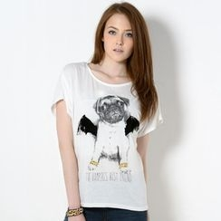 YesStyle Z - Dog Print Studded T-Shirt