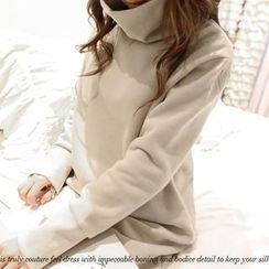 NANING9 - Turtleneck Pullover Midi Dress