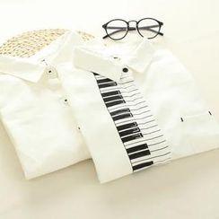 Mushi - Long Sleeved Piano Print Blouse