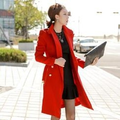 vivaruby - Belted Double-Breasted Trench Coat