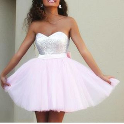 Charlotte - Strapless Paneled Bow-Accent Mini Prom Dress