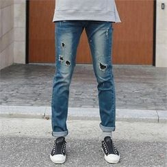 BYMONO - Distressed Washed Tapered Jeans