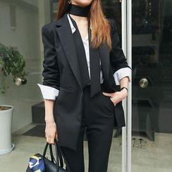 DABAGIRL - One-Button Blazer with Tie