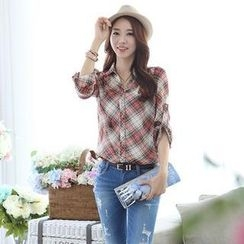 Styleonme - Plaid Chiffon Blouse