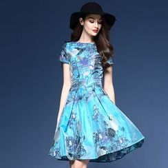 Elabo - Short-Sleeve Print A-Line Midi Dress