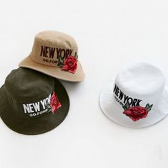 NIPONJJUYA - Lettering Flower-Patch Cotton Bucket Hat