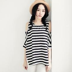 Tokyo Fashion - Cutaway Elbow-Sleeve Loose-Fit Striped Top