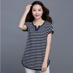 Eloqueen - Short-Sleeve Striped Top