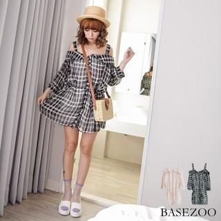 BaseZoo - Cutaway-Shoulder Tie-Waist Check Dress