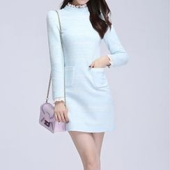 AiLiTi - Frill Trim Lace Shift Dress