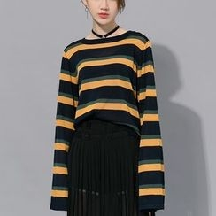 Heynew - Extra Long-Sleeve Striped Knit Top