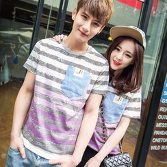 Evolu Fashion - Couple Matching Stripe Short-Sleeve T-shirt