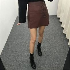 LIPHOP - Belted Accent Faux-Leather Skirt