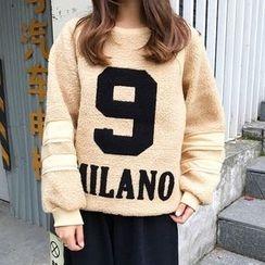 Bloombloom - Letter Applique Fleece Pullover