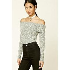 HOTCAKE - Off Shoulder Long Sleeve T-Shirt
