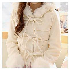Sechuna - Faux-Fur Trim Hoodie Coat