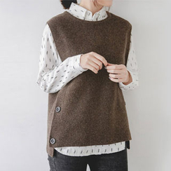 JUSTONE - Button-Side Wool Blend Knit Vest