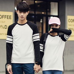 Evolu Fashion - Couple Matching Long-Sleeve Color Block T-Shirt