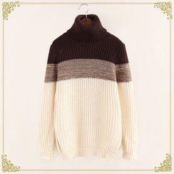 Fairyland - Color Block High Neck Sweater