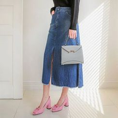 Seoul Fashion - Band-Waist Slit-Hem Denim Skirt