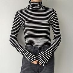 Cloud Nine - Stripe Turtleneck Long-Sleeve T-shirt